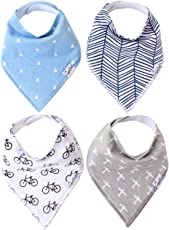 """Baby Bandana Drool Bibs for Drooling and Teething 4 Pack Gift Set For Boys """"Cruise Set"""" by Copper Pearl"""