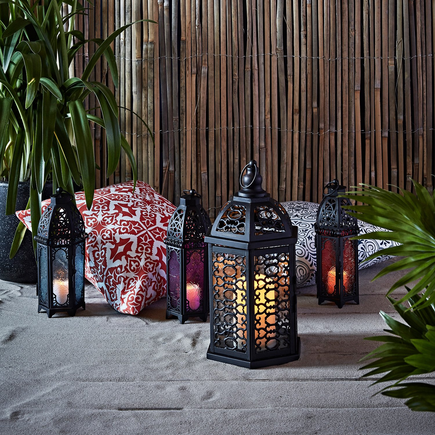 Lights4fun, Inc. Trio of Black Metal Moroccan Indoor Battery Operated LED Flameless Candle Lanterns with Colored Glass by Lights4fun, Inc. (Image #2)