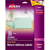 """Avery Matte Frosted Clear Return Address Labels for Laser Printers, 1/2"""" x 1-3/4"""", 800 Labels (15667)"""