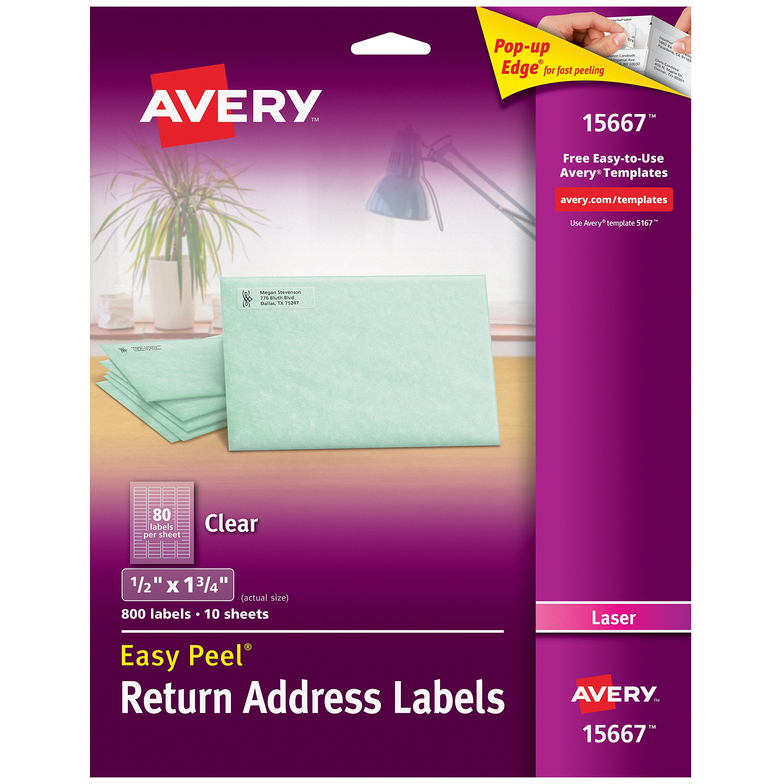Avery Matte Frosted Clear Return Address Labels for Laser Printers, 1/2'' x 1-3/4'', 800 Labels (15667)