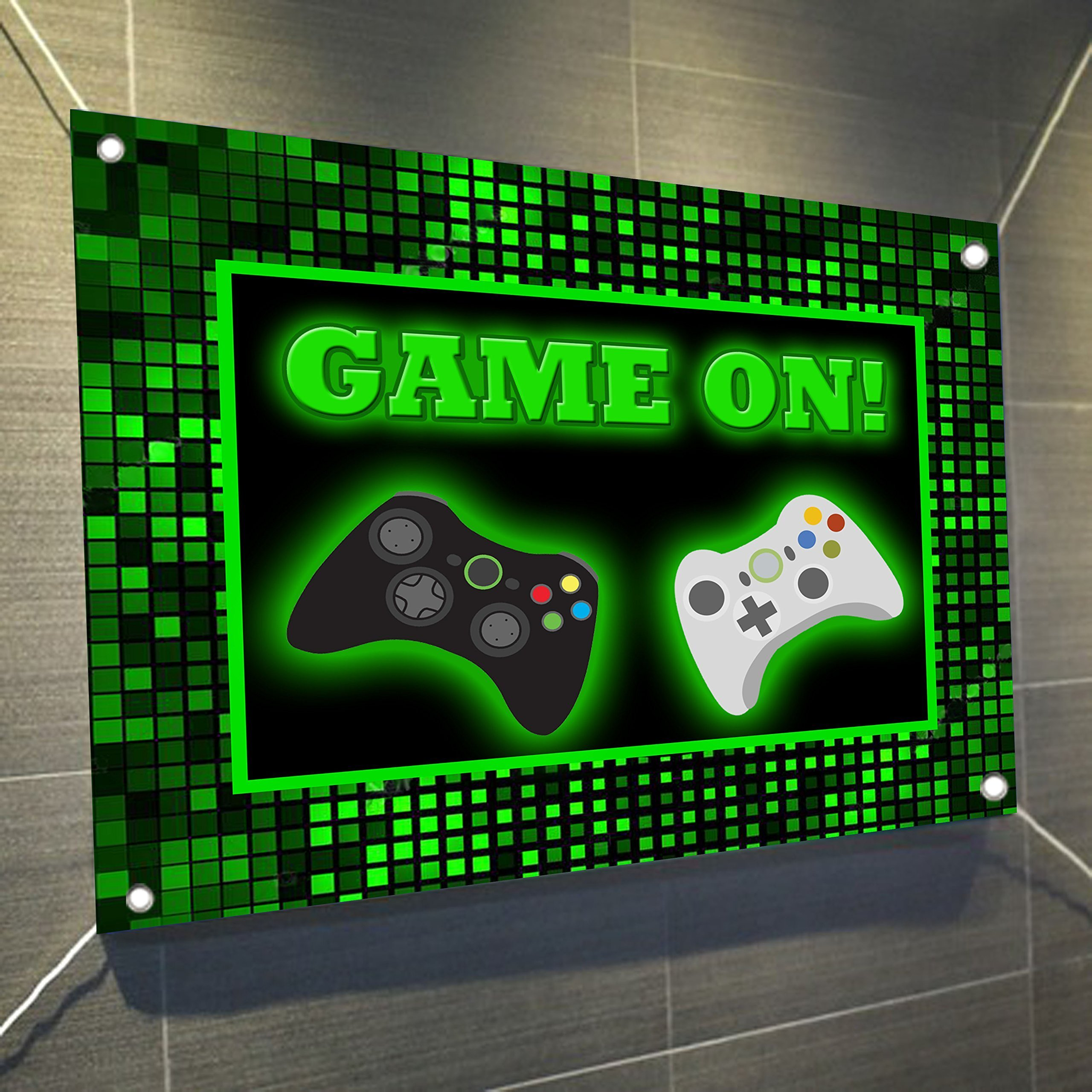 Game On Video Game Controller Large Vinyl Indoor or Outdoor Banner Sign Poster Backdrop, party favor decoration, 30'' x 24'', 2.5' x 2', Video Game Truck Party