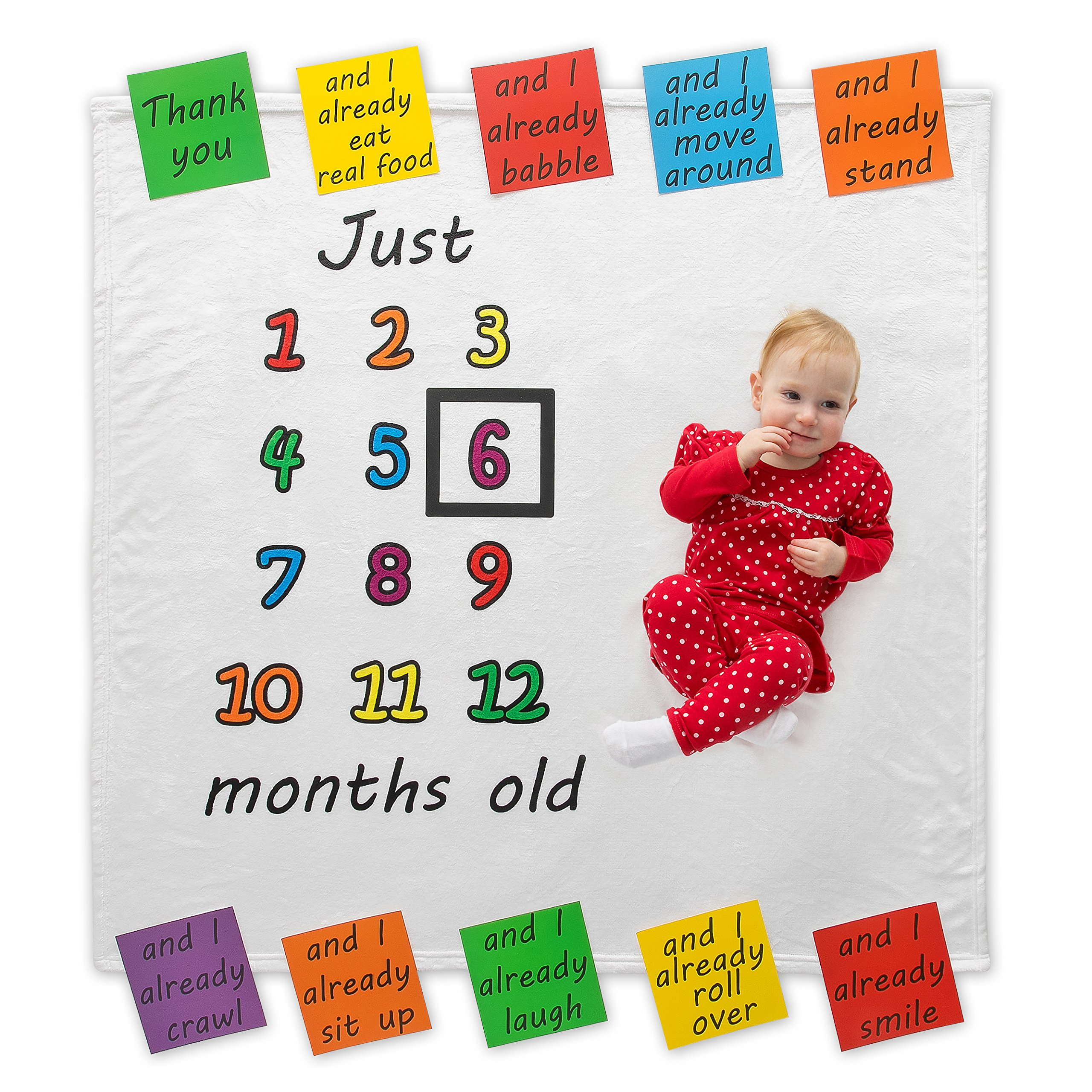 Premium Fleece Monthly Milestone Blanket | 10 Infant Cards And Frame Included | Picture Perfect Design For Baby Girl Or Boy | Newborn Photography Prop