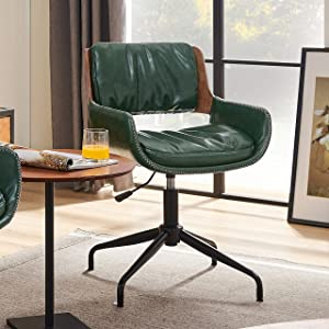 Volans Mid Century Modern Faux Leather Swivel Home Office Desk Chair No Wheels, Adjustable Height Task Chair with Arms, Green