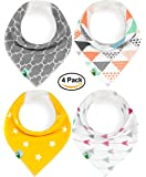 Baby Bandana Drool Bibs, Unisex 4 Pack Cute Bibs with Snaps - Best for Babies Drooling, Teething and Feeding - Soft, Absorbent & Hypoallergenic - Perfect Baby Shower Gift for Boys & Girls by BabyDew