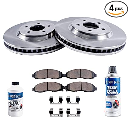 Detroit Axle - Front Brake Rotors & Ceramic Pads w/Clips Hardware Kit &  BRAKE CLEANER & FLUID for 05-08 Buick Allure LaCrosse No Super - [05-08  Grand