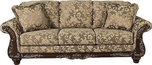 Ashley Furniture Signature Design - Irwindale Sofa - Traditional Elegant  Couch - Topaz with Goldtone Leaf Finish