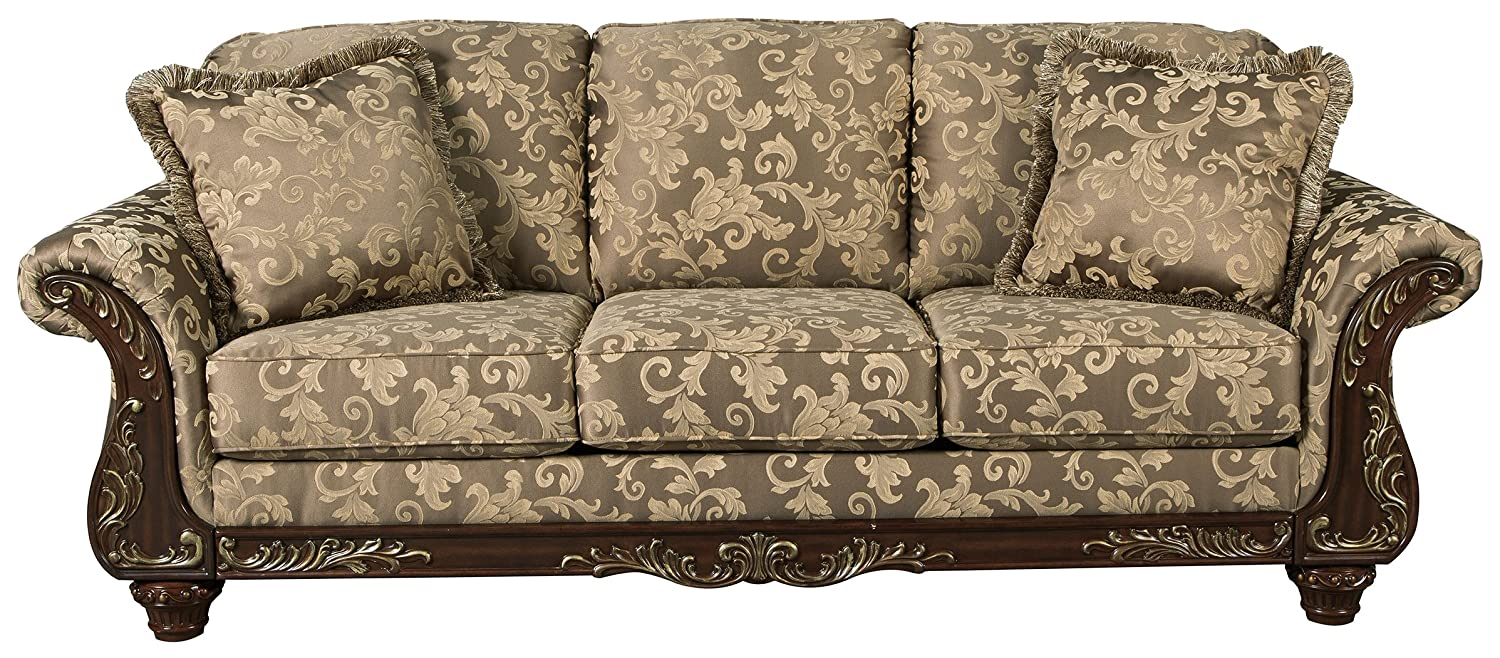 Ashley Furniture Signature Design - Irwindale Sofa - Traditional Elegant  Couch - Topaz with Goldtone Leaf Finish