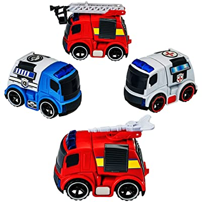Dragon Too Fire Truck Police Car Ambulance Mini Trucks Set with Lights and Sirens Emergency Vehicles Pack of 4 – 1 Police Truck – 1 Ambulance - 2 Fire Trucks – by