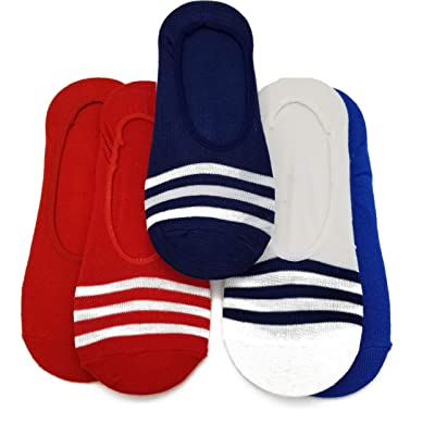 6 pair Cute Novelty Design Ultra Low no Show Socks 3 Solid 3 Stripe - Shoe Liners 4th of July - Red - Blue - White - Navy at Amazon Women's Clothing store