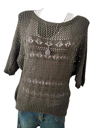 Damen Pullover Pulli Häkelmuster graubraun brown M L XL 38 40 42 ...