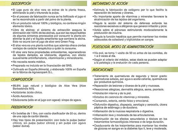 Green Frog. Jugo de Aloe Vera ecológico sin pulpa. 100% Fresco y Natural. 1L ...: Amazon.es: Salud y cuidado personal