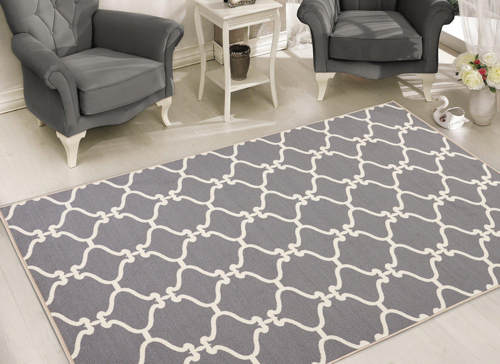 Sweet Home Stores Clifton Collection Light Grey Moroccan Trellis Design (7'10 X9'10) Felt Area Rug