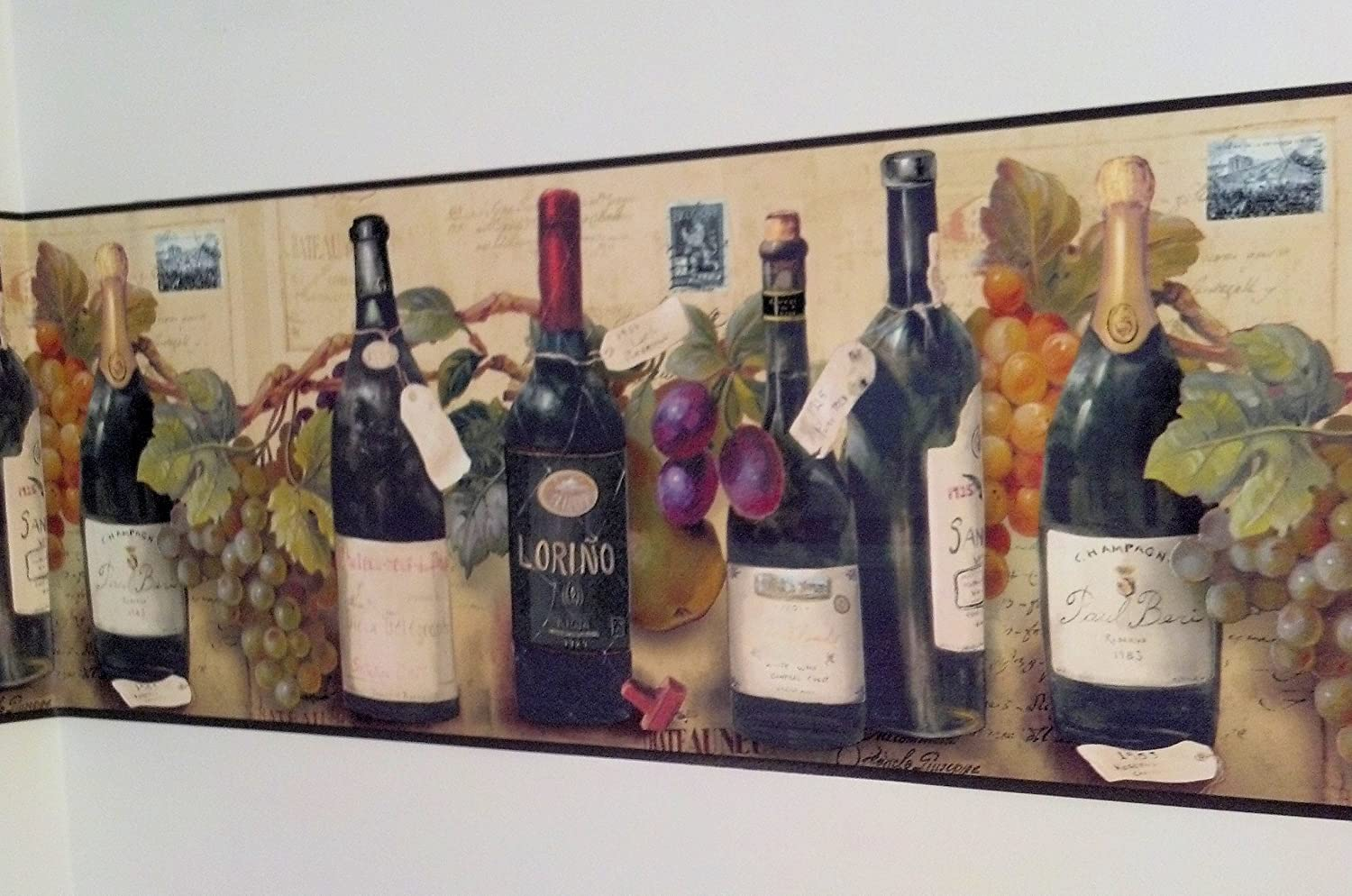 Kitchen Borders Wine And Grapes Wallpaper Border By Village Kitchen Boarders