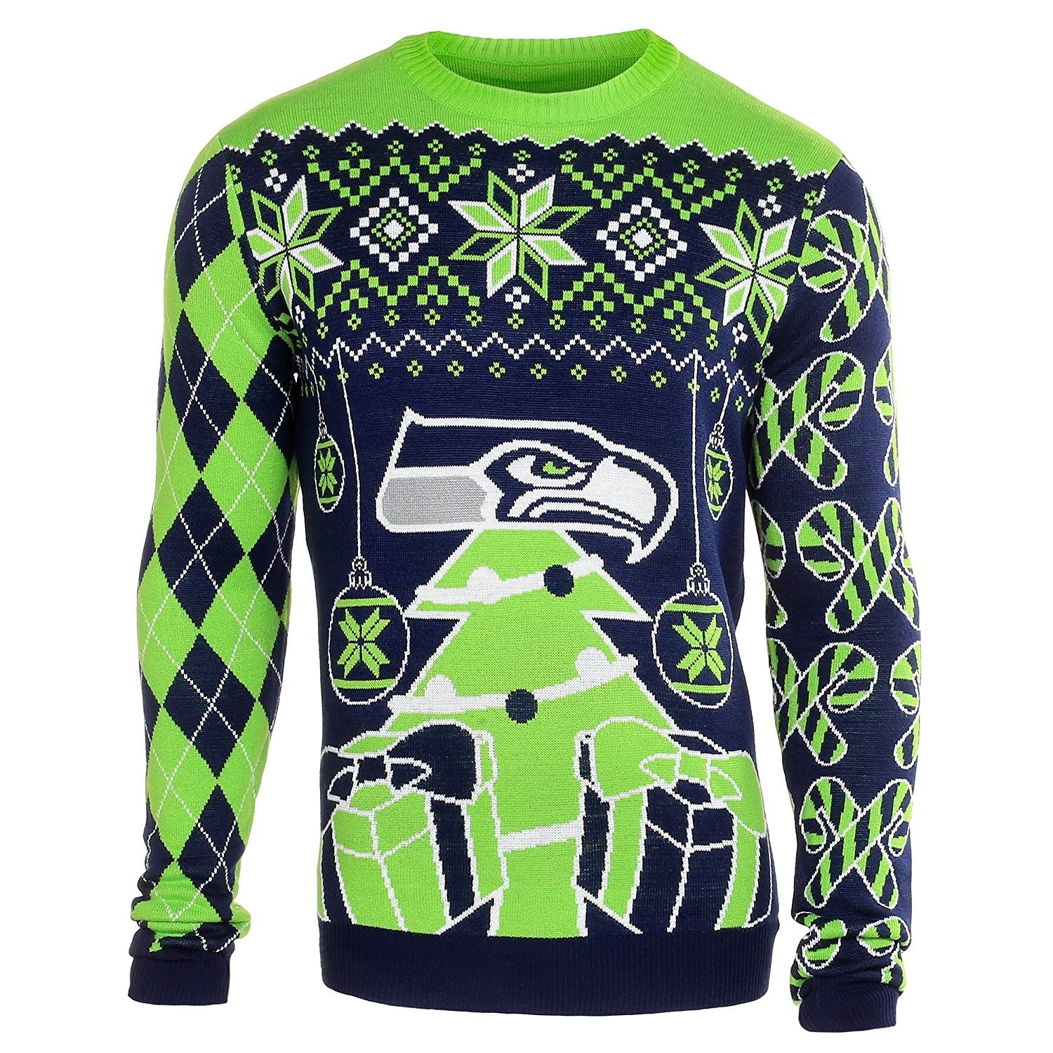 nfl football mens ugly holiday christmas tree ornament sweater pick team seattle seahawks medium - Seahawks Christmas Sweater