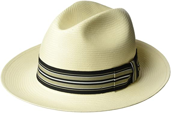8d7ed88c98c4f Bailey of Hollywood Men s Creel Straw Fedora Trilby Hat with Striped Band