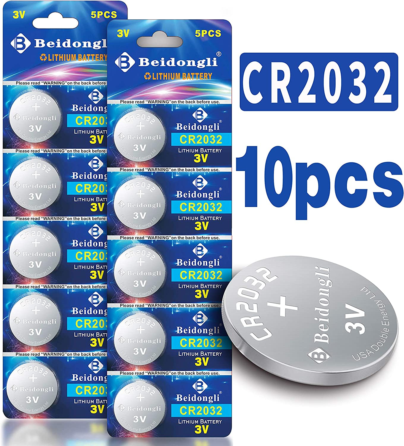 Beidongli CR2032H high Capacity 3V Lithium Battery Coin Button Cell 10 Pack 【5-Year Warranty】