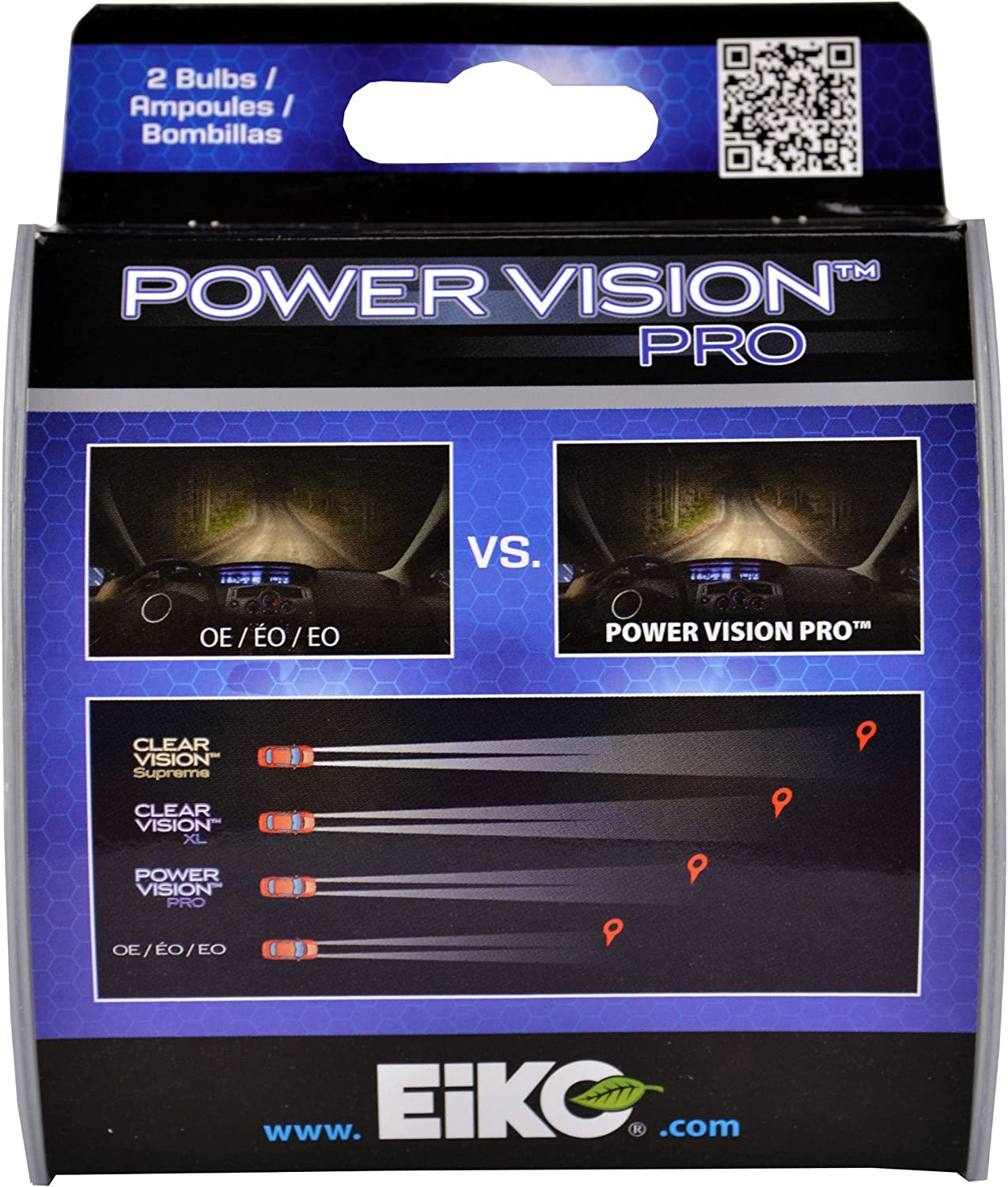 Pack of 1 EiKO H755PVP-BP  H7 55W Power Vision PRO Halogen Bulb,