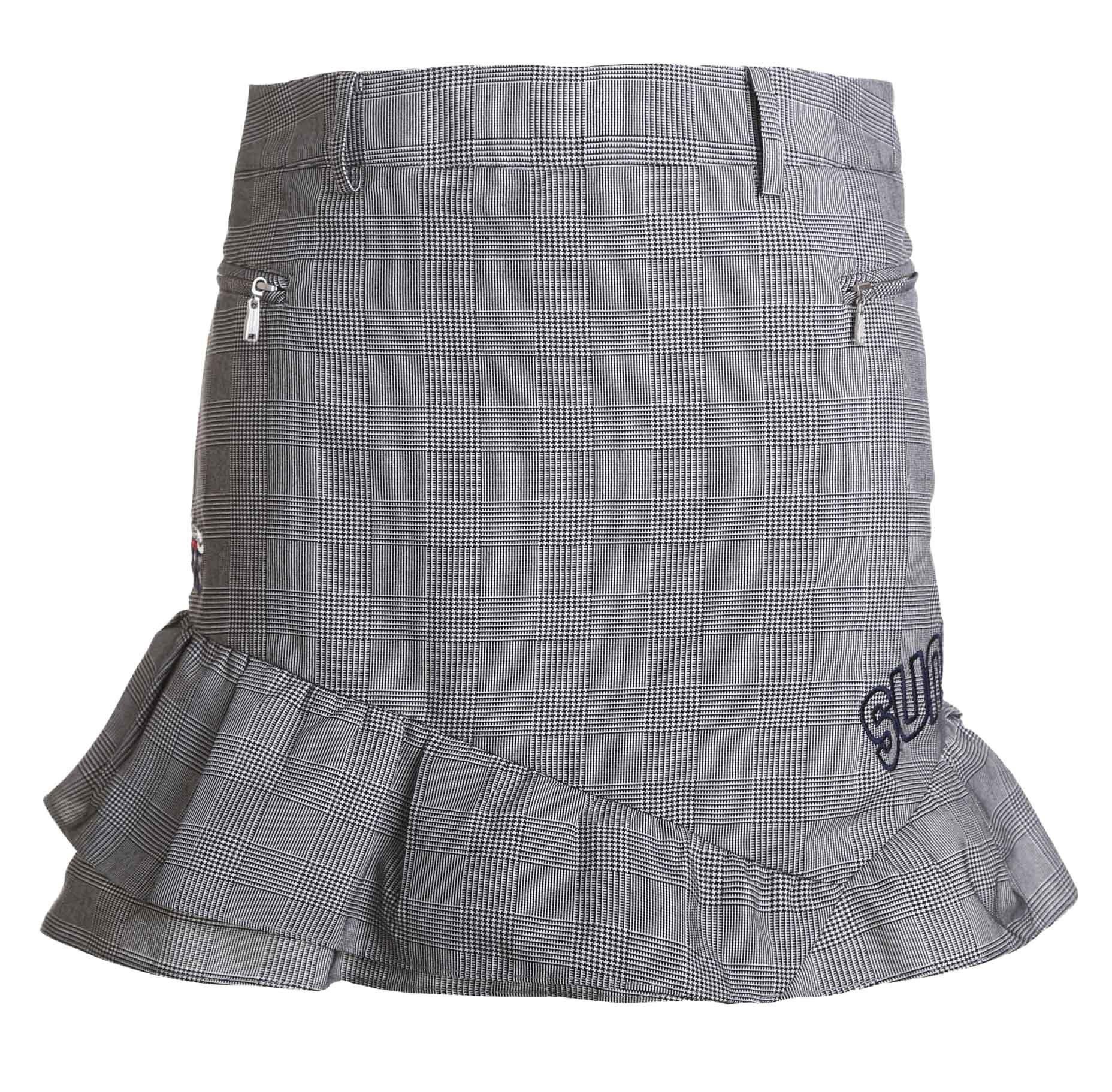 SVG Women's Plaid Golf Skorts Falbala Hem Mini Casual Skirt Grey M