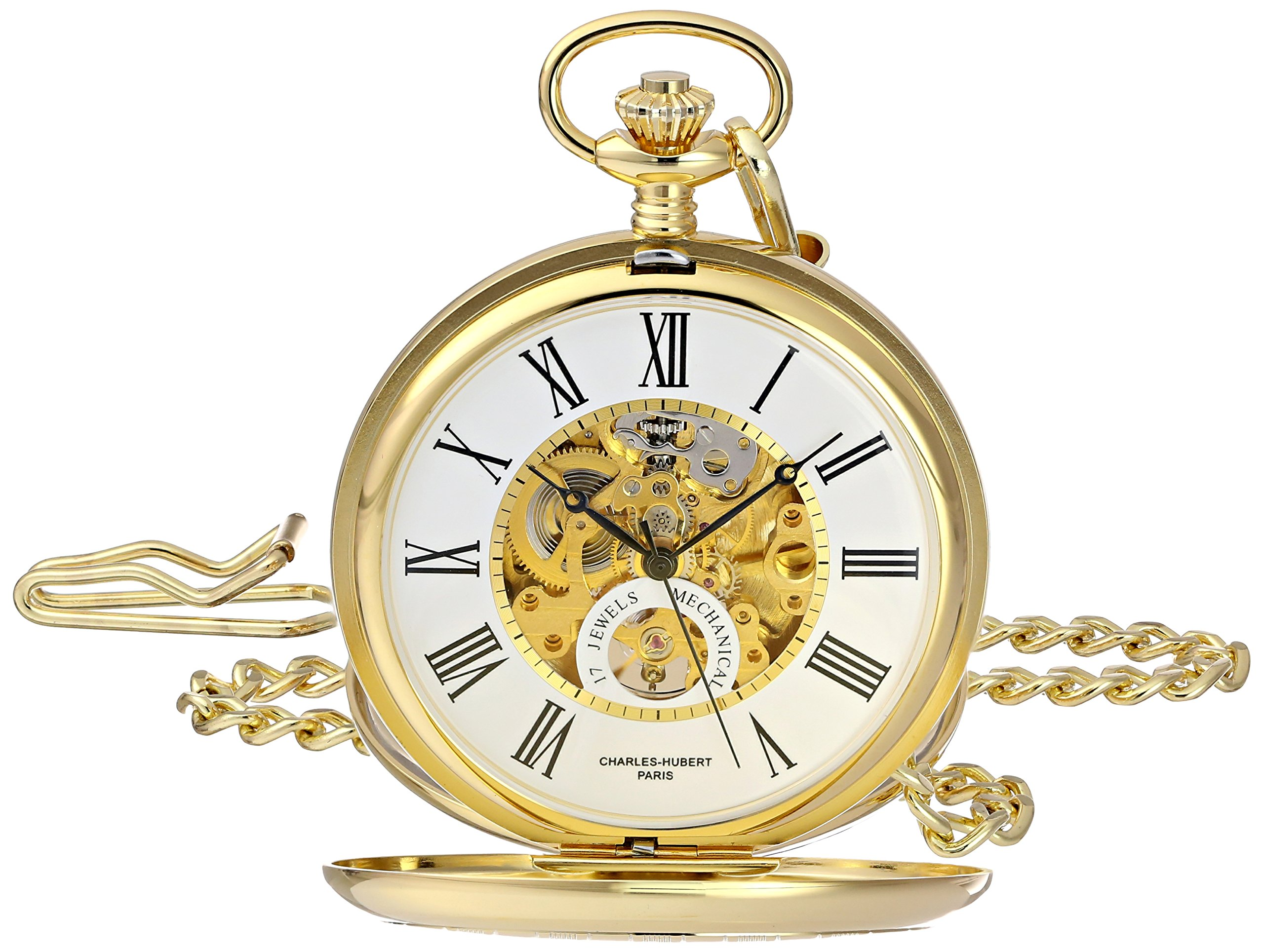 Charles-Hubert, Paris 3973-G Classic Collection Analog Display Mechanical Hand Wind Pocket Watch