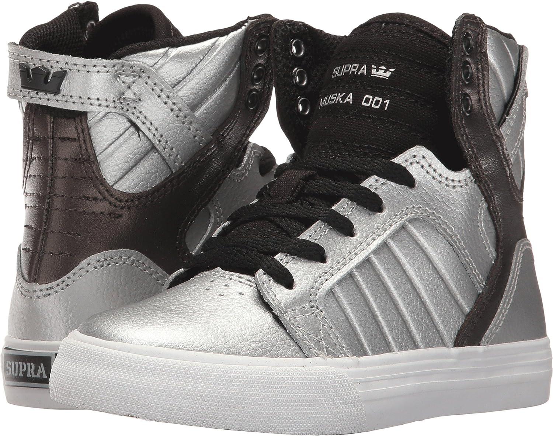 Little Kid//Big Kid Silver Metallic//White Athletic Shoe Supra Kids Boys Skytop