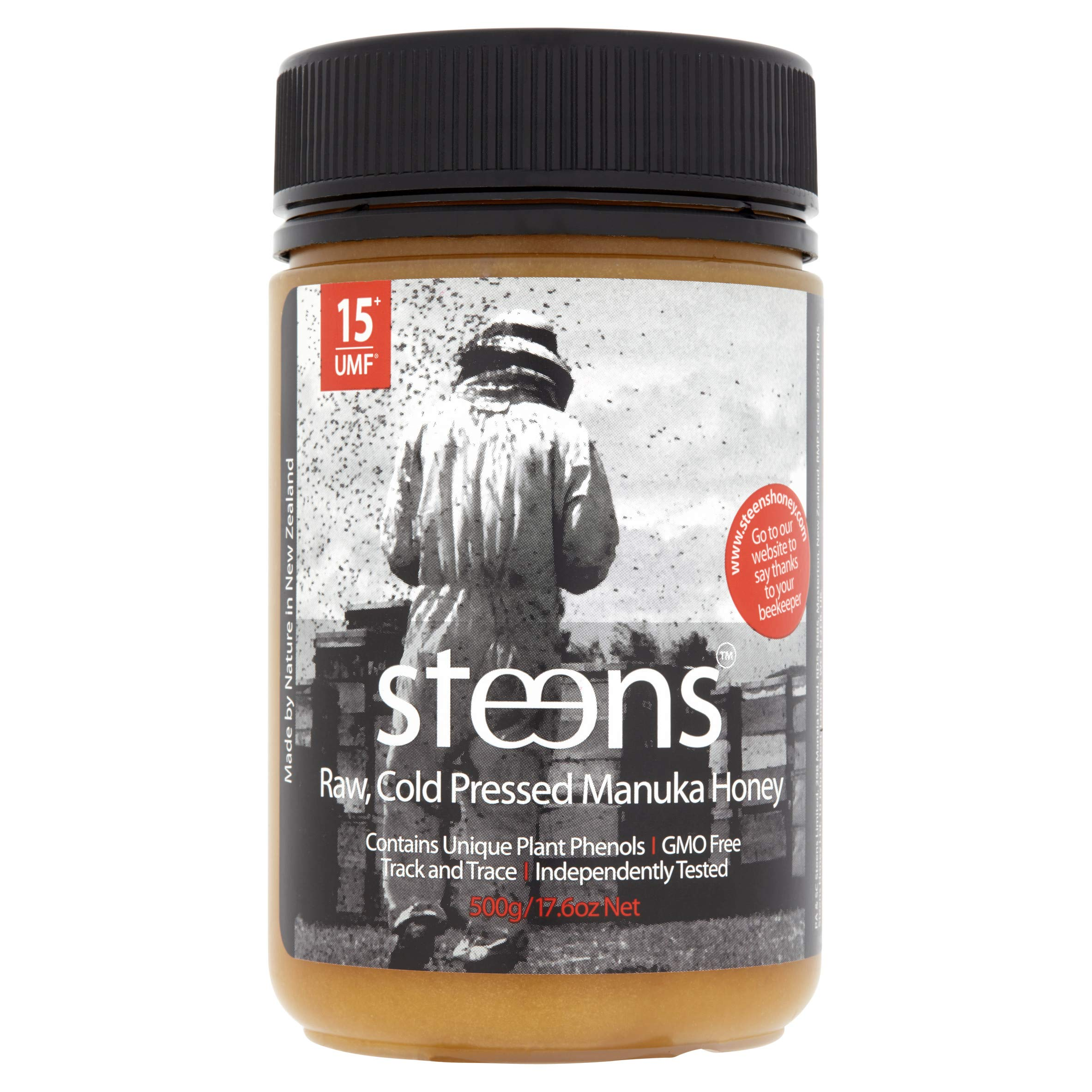 Steens Manuka Honey UMF 15 (MGO 514) 17.6 Ounce jar   Pure Raw Unpasteurized Honey From New Zealand NZ   Traceability Code on Each Label by Steens (Image #2)