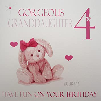 WHITE COTTON CARDS Gorgeous Granddaughter 4 Handmade Age Birthday Card Pink Bunny