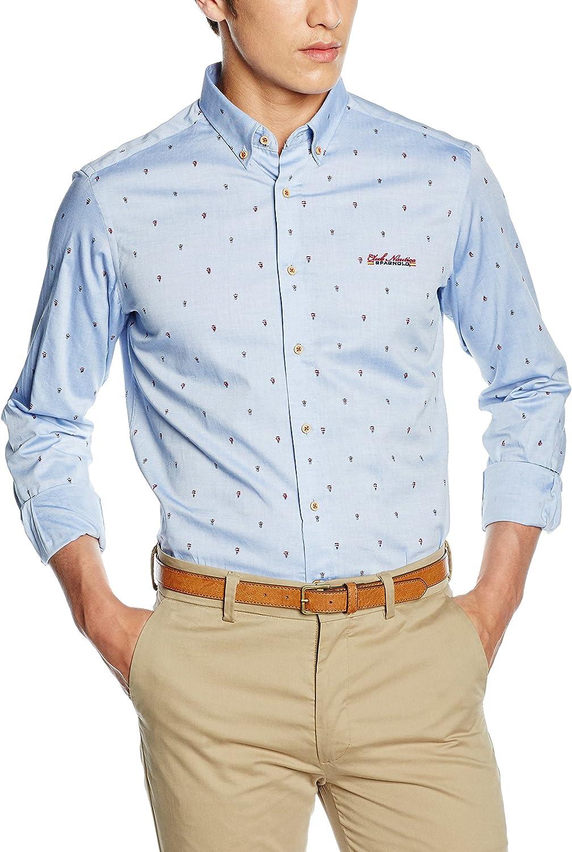 Spagnolo Camisa Oxford Estampado Boton Slim 1125, Hombre, Celeste ...