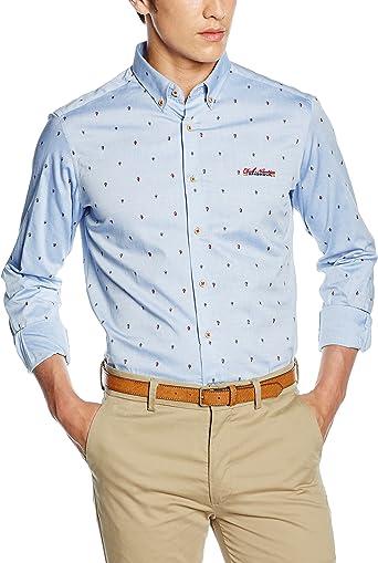 Camisas Spagnolo Oxford Boton de manga larga para hombre