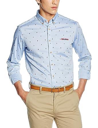 gama exclusiva cliente primero 2019 mejor venta Spagnolo Camisa Oxford Estampado Boton Slim 1125 - Camisa para Hombre