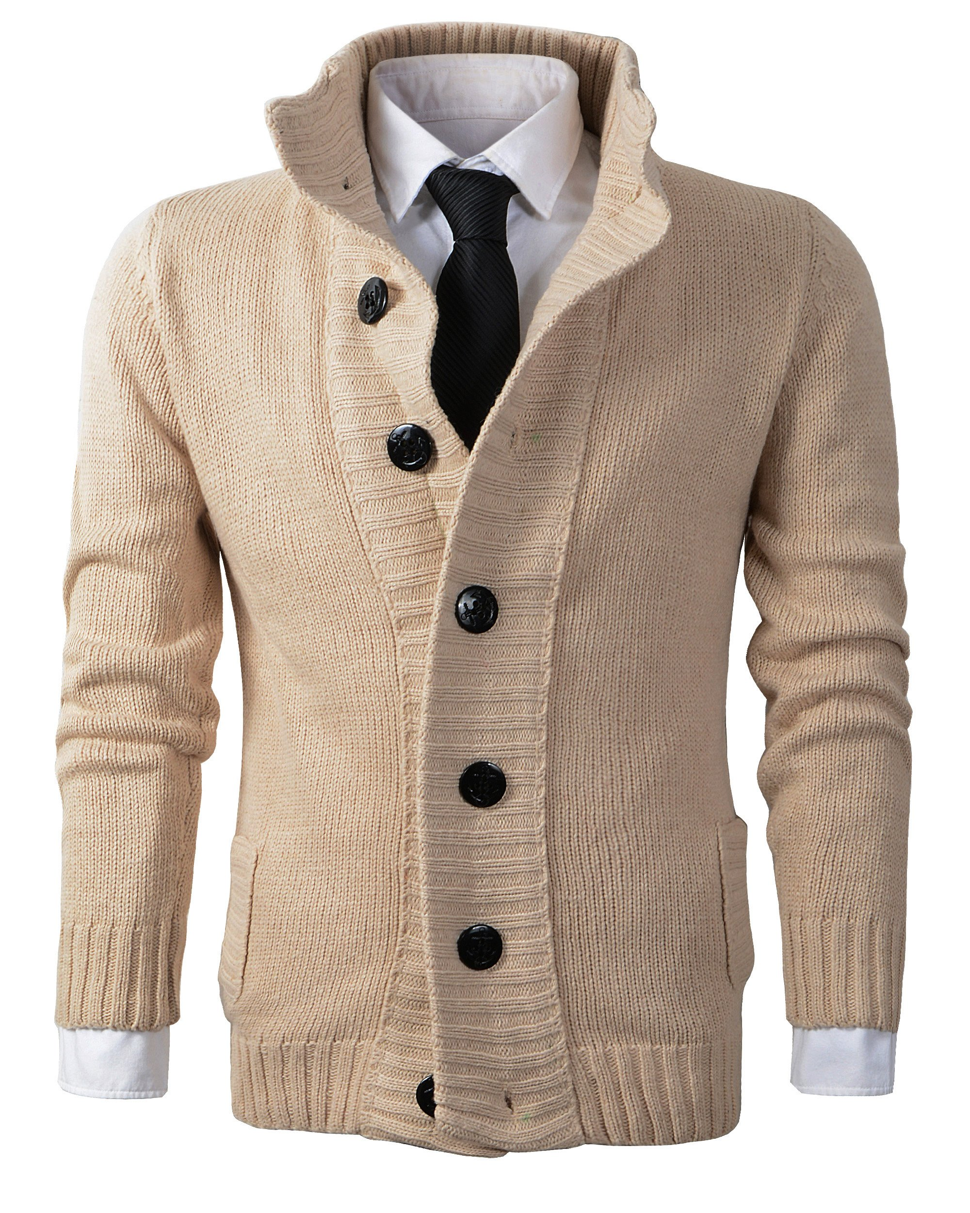 Benibos Men's Button Point Stand Collar Knitted Slim Fit Cardigan Sweater (L, CYMY Khaki)