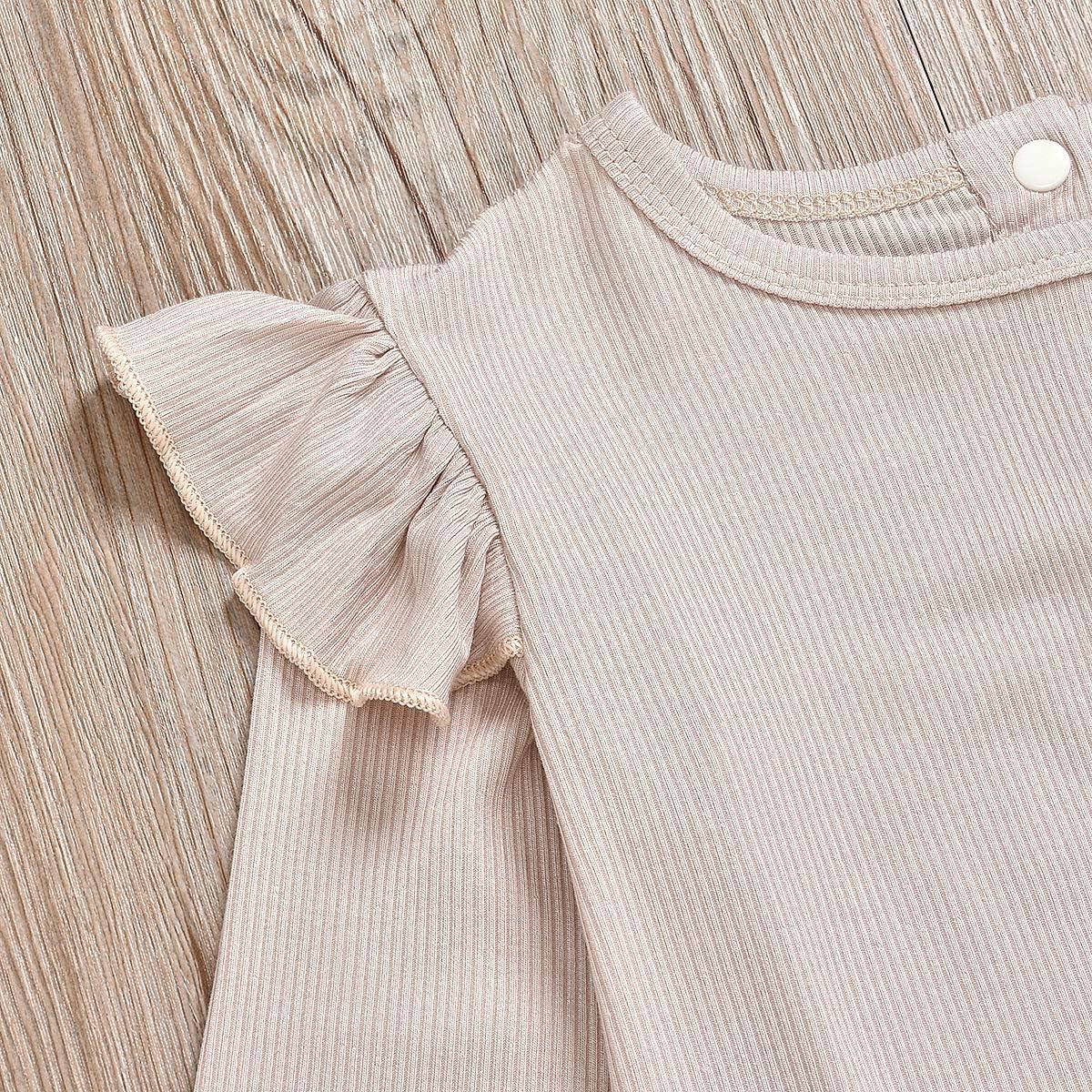 Newborn Baby Girls Outfits Striped Shirt+Leopard Lace Suspender Shorts Short Set
