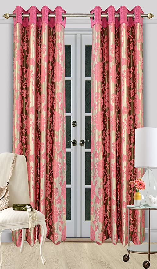 Buy Dreamline Candy Patch Printed Door Curtains With Eyelets PINK ...