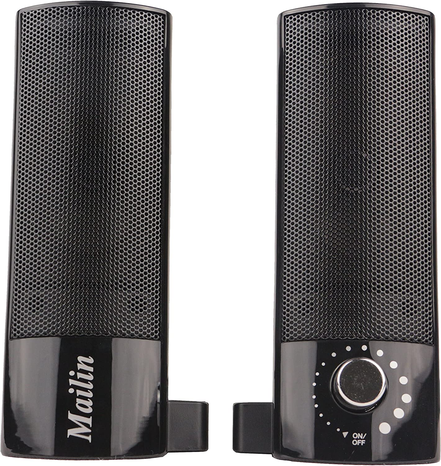 Mailin Detachable Computer Speaker, PC Speaker, Laptop Speaker, USB Power Supply 3.5mm Stereo Input, 5 Watts RMS Total Power with Volume Control (Black)