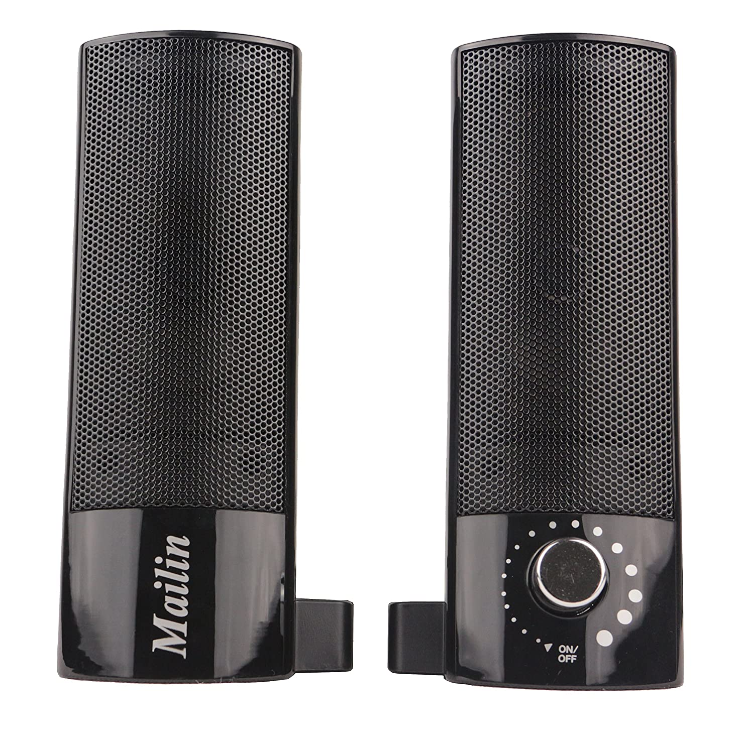 Mailin Detachable Computer Speaker, PC Speaker, Laptop Speaker, USB Power Supply 3.5mm Stereo Input, 5 Watts RMS Total Power with Volume Control Black