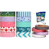 Artistic Rolls 10-Piece Japanese Kamoi Decorative Washi Paper Tapes with 4-Piece Glitter Tape and eBook, Digital Curio-Blue, Green & Strawberry Combination