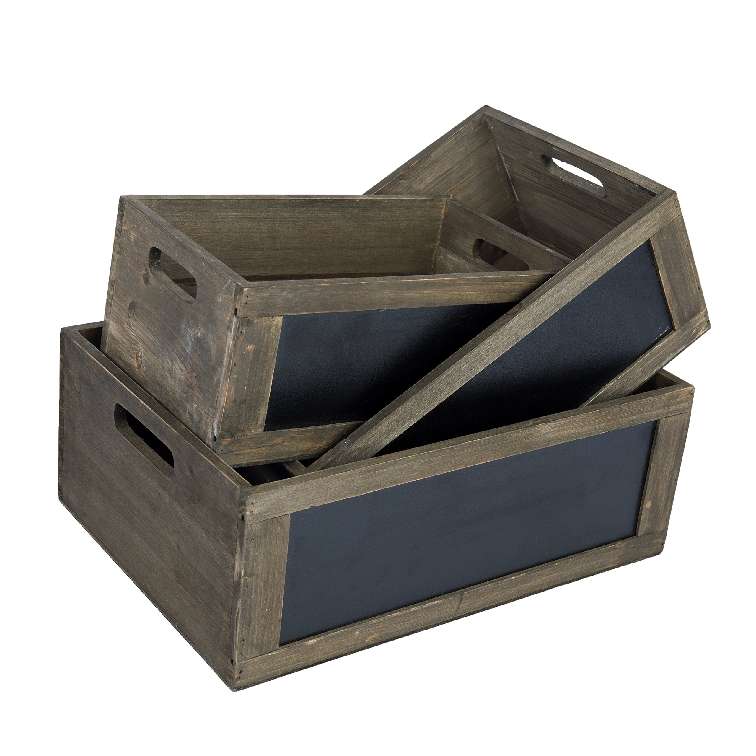 MyGift Rustic Brown Wood Nesting Storage Crates with Chalkboard Front Panel and Cutout Handles, Set of 3 by MyGift (Image #7)