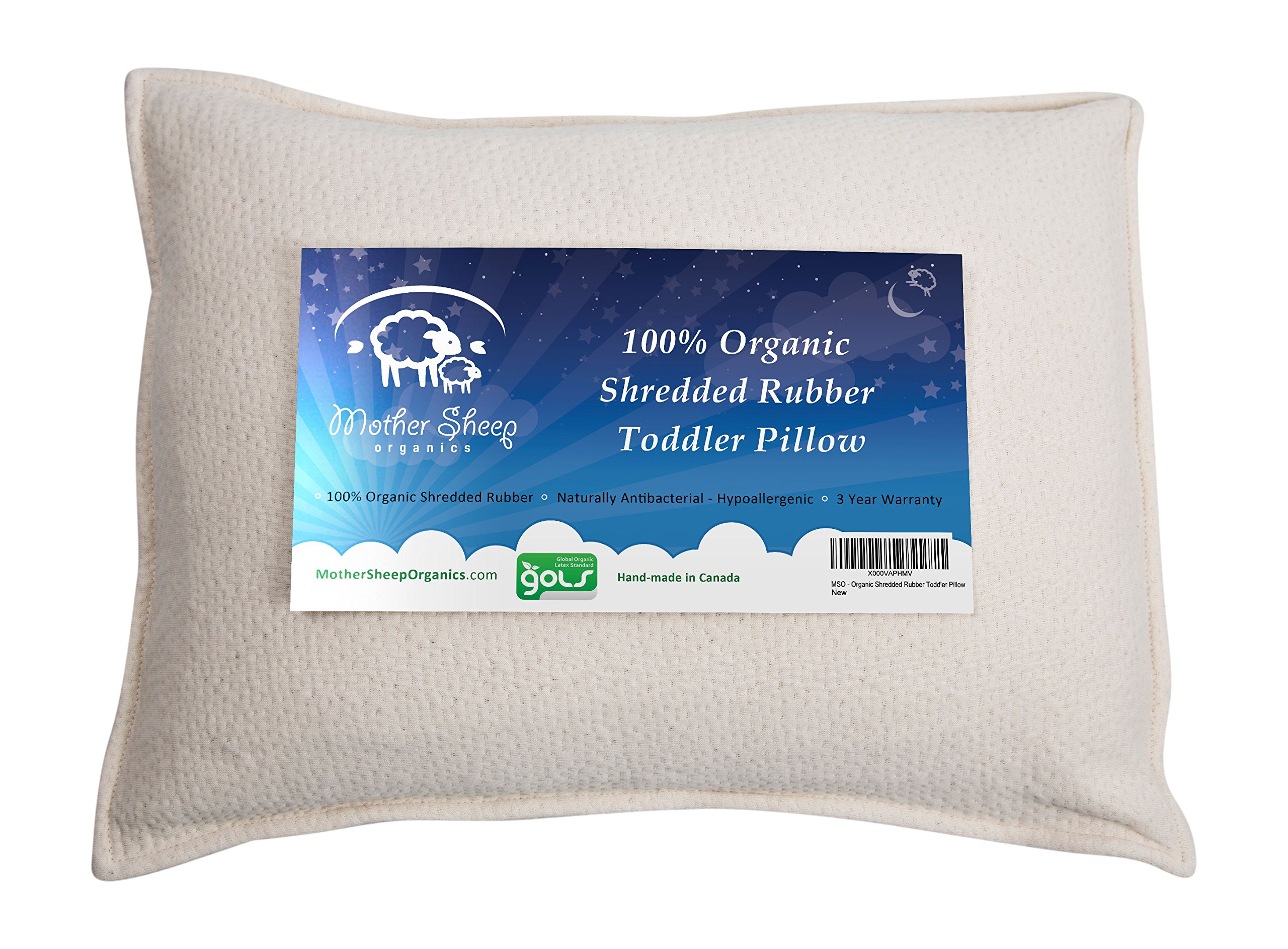 Organic Rubber Toddler Pillow, All Natural and 100% GOLS Certified Pure Organic, Shredded Rubber Filling, Machine Washable, Natural Antibacterial & Hypoallergenic, 3 Year Warranty 14x19