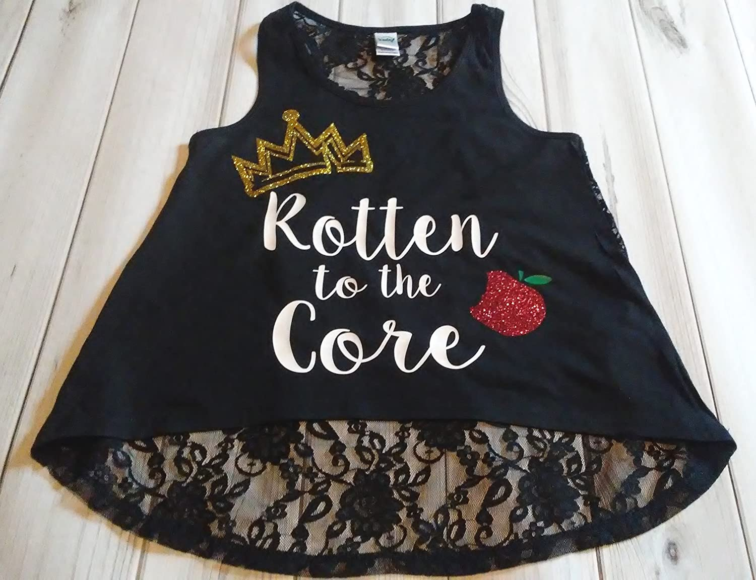 Girls Descendants Glitter Sparkle Rotten to the Core Crown Apple Birthday Black Lace Hi Low Tank Top Small Medium Large 7-16