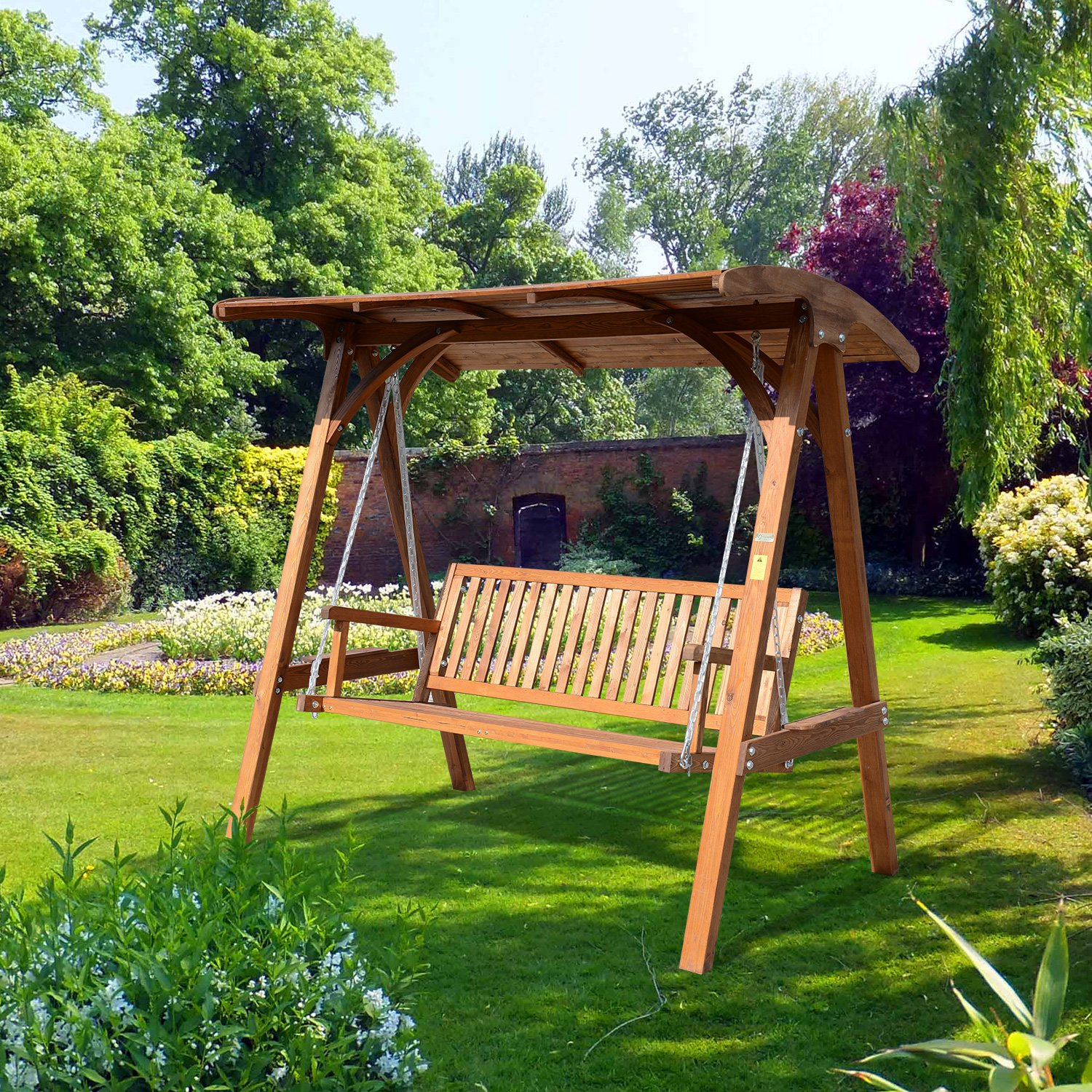 Outsunny 3 Seater Larch Wood Wooden Garden Swing Chair Seat Hammock Bench Lounger Wood Amazon.co.uk Garden u0026 Outdoors & Outsunny 3 Seater Larch Wood Wooden Garden Swing Chair Seat ...