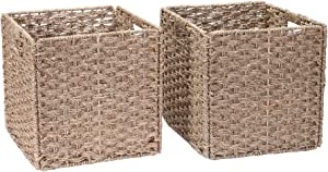 Villacera 12-Inch Square Hand Weaved Wicker Storage Bin, Foldable Baskets made of Water Hyacinth | Set of 2