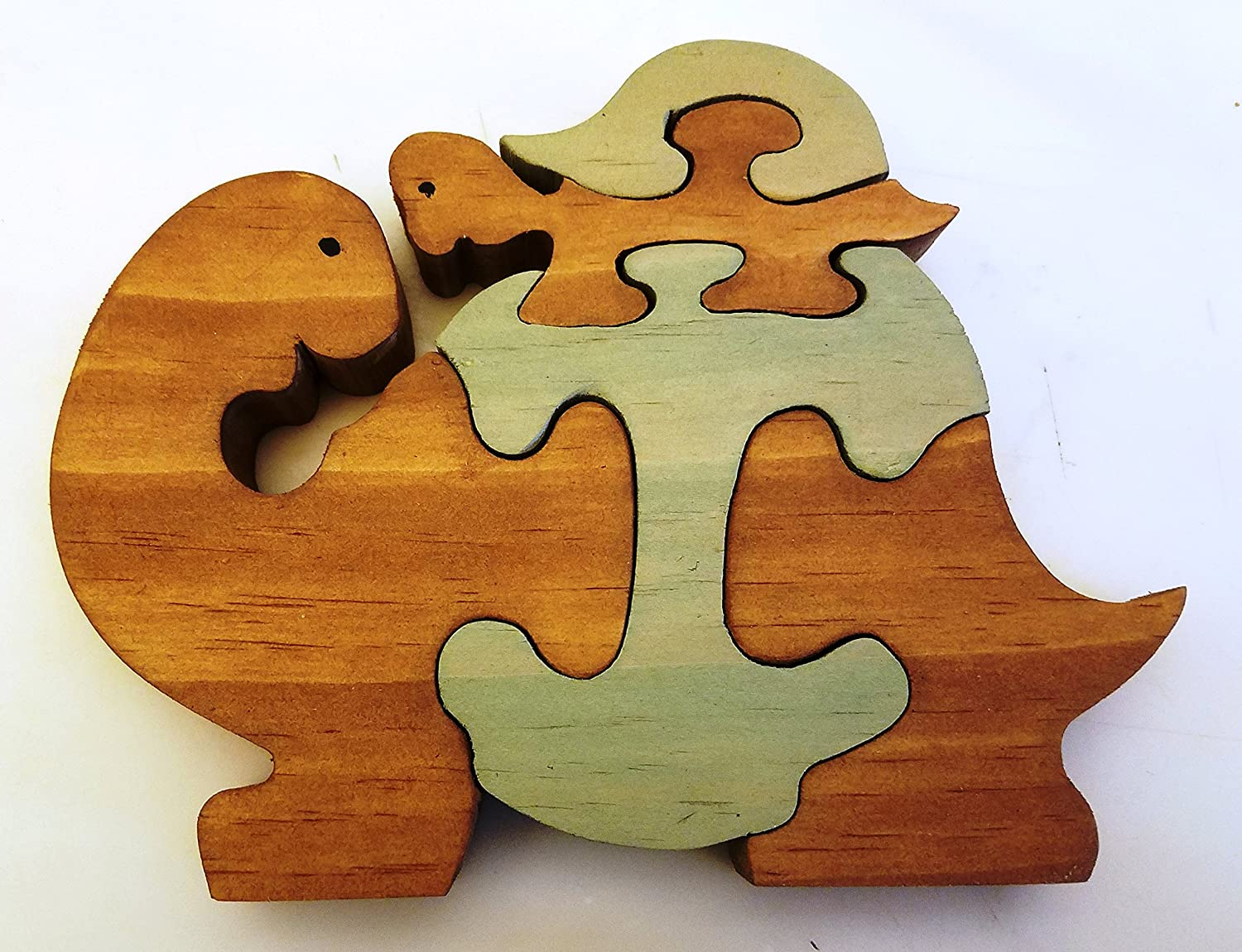 Handmade and Painted 3D Wooden Puzzle Mommy with Baby Turtle Green and Brown