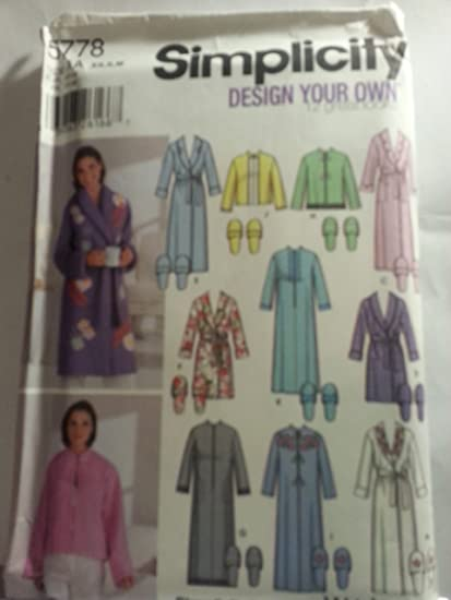Amazon.com  Simplicity 5778 Sewing Pattern Misses Robes Slippers ... 373ab3fea