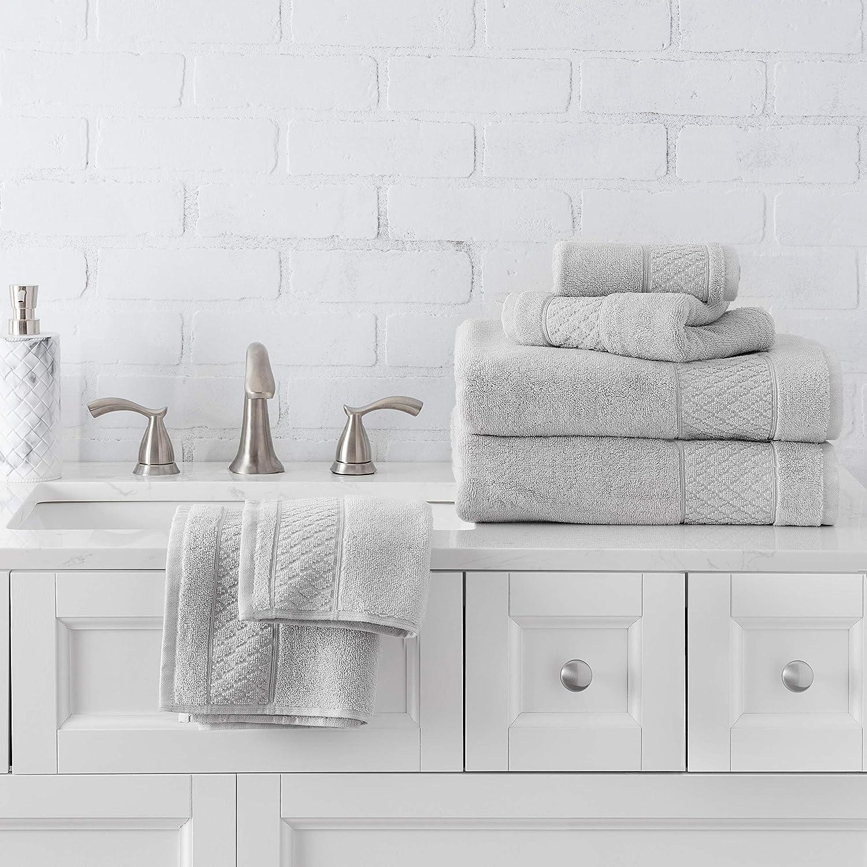 Welhome Hudson 100% Pure Organic Cotton 6 Piece Towel Set   Glacier Grey   Eco Friendly   Plush   Durable & Absorbent   Hotel & Spa Decorative Bathroom Towel   651 GSM   2 Bath 2 Hand 2 Wash Towels