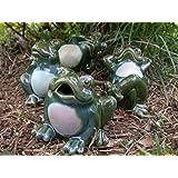 Set of 4 Porcelain Whimsical Frog Figurines Garden Statues Yard Decor