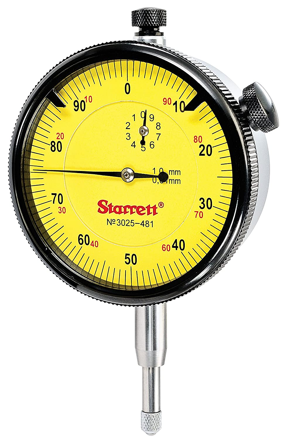 Starrett 3025-481 Dial Indicator Range: 10mm, Dial Reading: 0-100