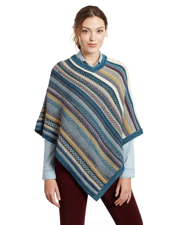 bluee Invisible World Women's 100% Pure Alpaca Striped V Neck Poncho Carmen