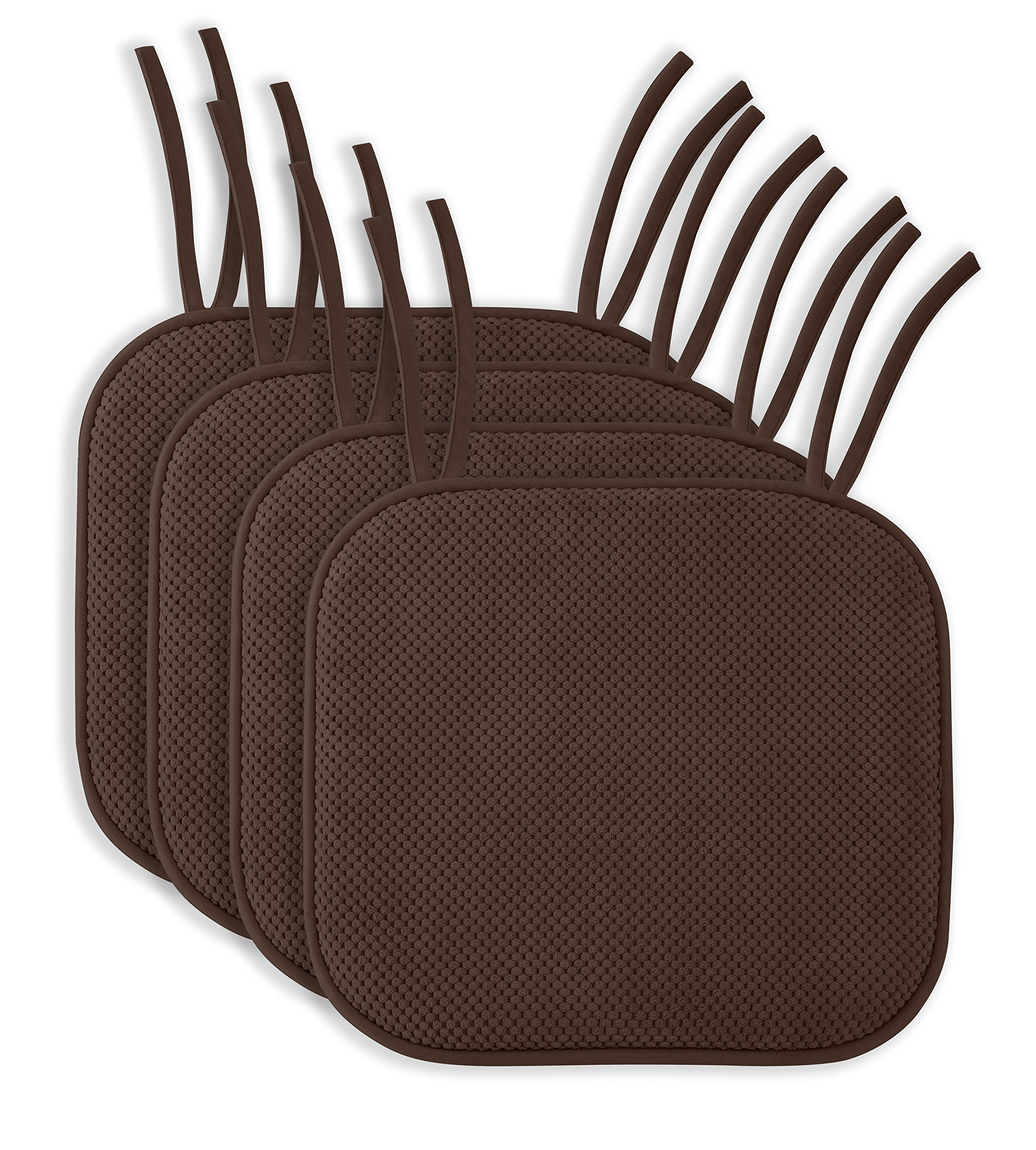 4 Pack: Ellington Home Non Slip Memory Foam Seat Cushion Chair Pads With Ties - 17'' x 16'' - Brown