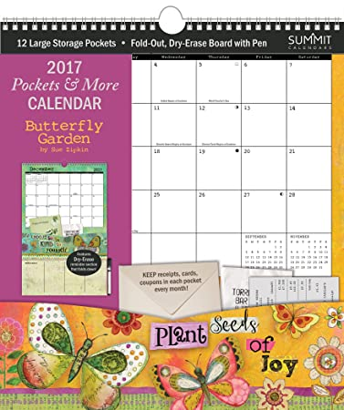 Amazon.com : Summit 2017 Calendar Pockets and More Butterfly ...