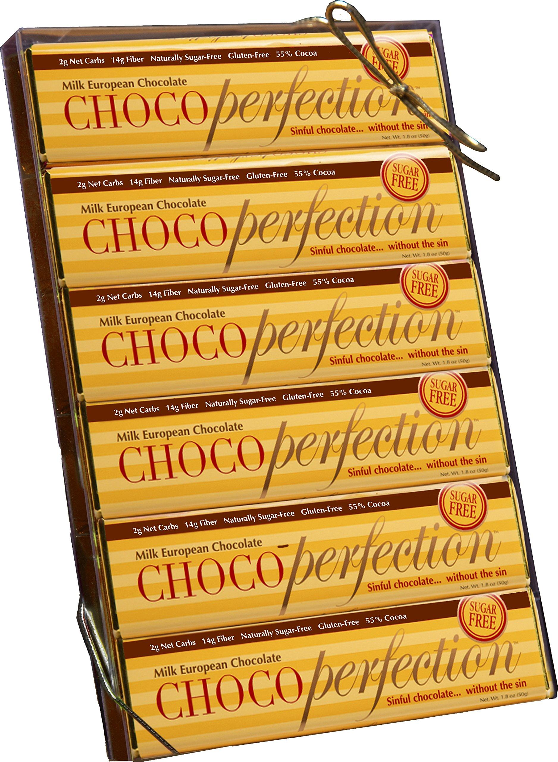ChocoPerfection 1.8 oz. Sugar Free Milk Chocolate Bars - No Maltitol - Box of 12 Bars