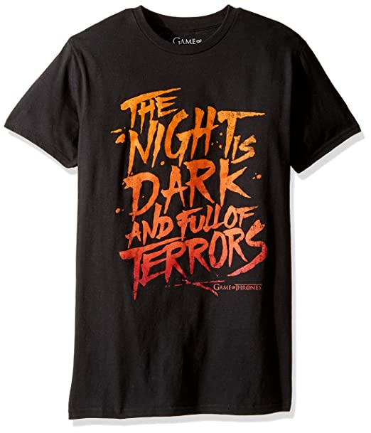 94dec503f Amazon.com: Game of Thrones Men's The Night is Dark and Full of Terrors  Shirt: Clothing